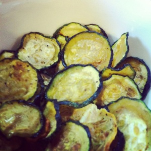 Zucchini Chips.  We had a lot of Zucchini!  I made chips, bread, dips, stirfry, and froze about 60 cups of shredded Zucc for the winter.