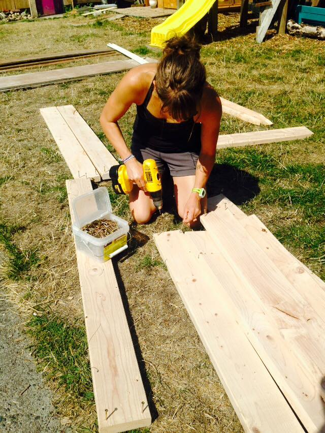 """I'm working on my drill skills.  I'm told by my dad that I'm a little """"drill challenged"""" and Josh saw me working a few days later and came over to give me a few tips...and told me """"This was going to take you all day!"""" haha.  I really am getting better--thanks to the patients of my power tool teachers."""