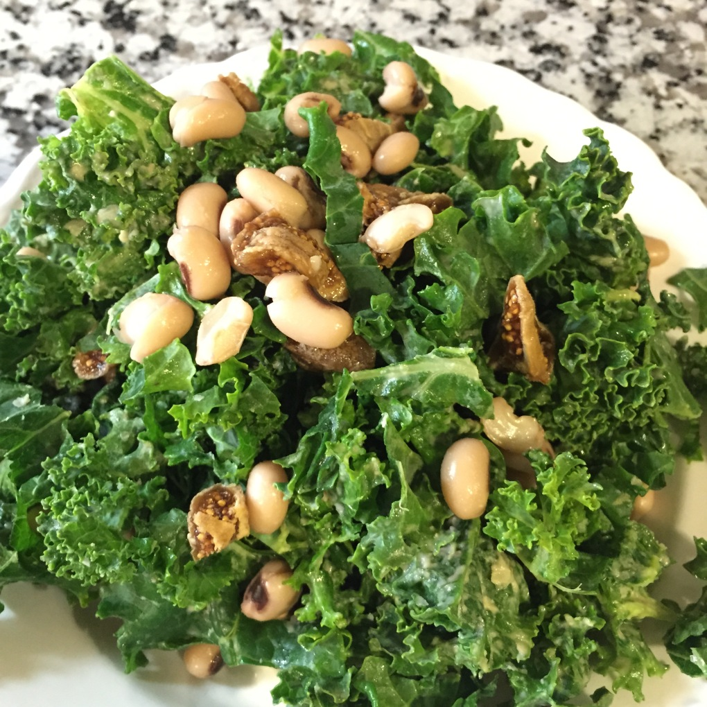We also had a kale salad massaged with hummus and tossed with figs and black eyed peas.